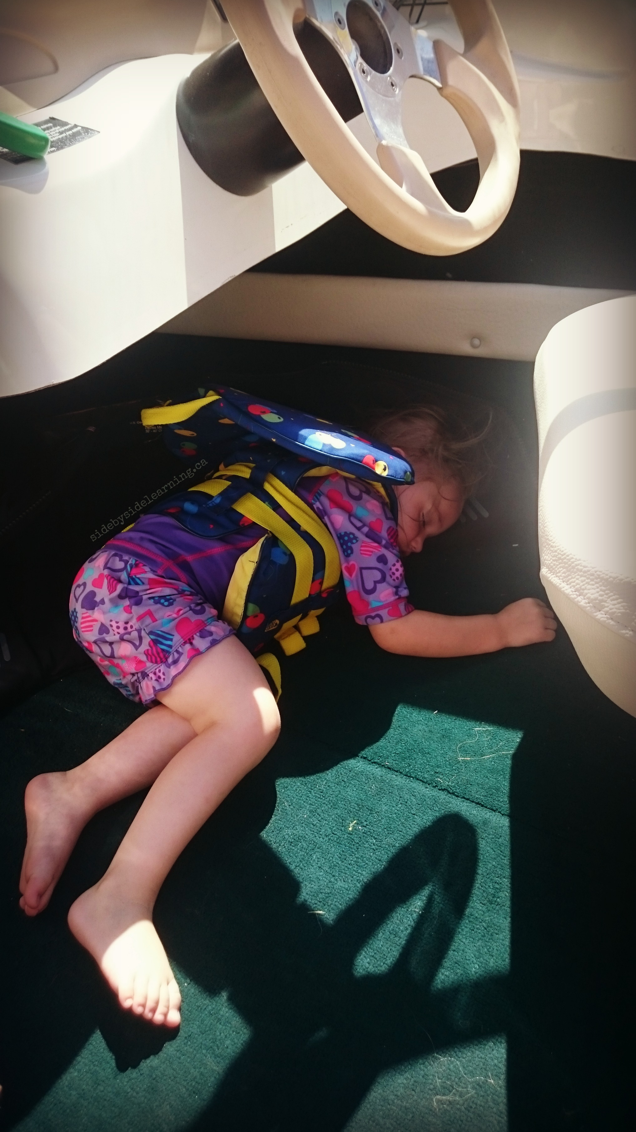 Sleeping Toddler on boat